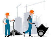 Builders at building site Stock Photo