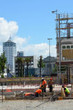 Builders builds a new building in Christchurch New Zealand Stock Photography