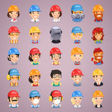 Builders Cartoon Characters Icons Set. In the EPS file, each element is grouped separately. Clipping paths included in additional jpg format Royalty Free Stock Image