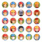 Builders Cartoon Characters Icons Set1.3 Royalty Free Stock Image