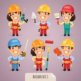 Builders Cartoon Characters Set1.1 Stock Images