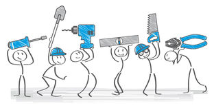 Builders. Cheerful builders holding tools -  illustration Stock Photos