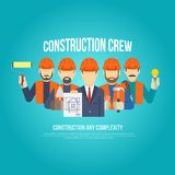 Builders Concept Flat. Builders engineers and work men in hard hats concept flat vector illustration Stock Images