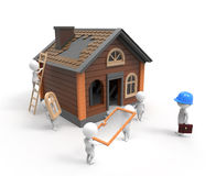 Builders construct the house Stock Photo