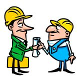 Builders contract cartoon illustration Stock Photo