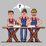 Builders crew exploring the drawings. And that they do not understand. Vector sketch cartoon illustration Royalty Free Stock Photo