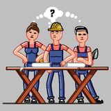 Builders crew exploring the drawings. And that they do not understand. Vector sketch cartoon illustration Stock Images