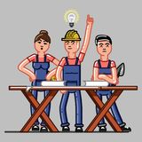 Builders crew exploring the drawings. And one of them finds a solution. Vector sketch cartoon illustration Stock Photos