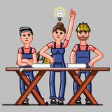 Builders crew exploring the drawings. And one of them finds a solution. Vector sketch cartoon illustration Royalty Free Stock Photography
