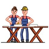 Builders crew exploring the drawings. Vector sketch cartoon illustration Stock Images