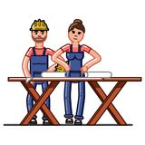 Builders crew exploring the drawings. Vector sketch cartoon illustration Stock Image
