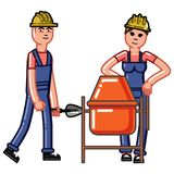 Builders crew knead concrete. Vector sketch cartoon illustration Royalty Free Stock Images