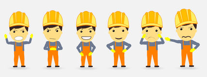 Builders and emotions. anger joy happiness. Vector Stock Image