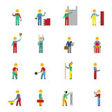 Builders Flat Icon Set Stock Images
