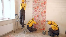 Builders hang wallpaper in the apartment. Brigade of builders hang wallpaper in the apartment. Masters make repairs stock footage