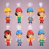 Builders with Icons Set Stock Photo