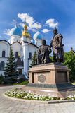 Builders of Kazan Kremlin Monument. And Annunciation Cathedral in Kazan, Tatarstan, Russia Royalty Free Stock Photos