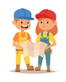 Builders kid vector Royalty Free Stock Image