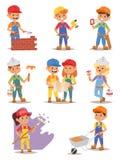 Builders kids vector set. Stock Images
