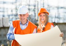 Builders are laughing Stock Images