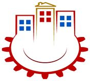 Builders logo. Isolated line art builders logo design Stock Photo