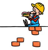 Builders lunch hour cartoon Stock Photography