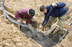 Builders making foundations Stock Images