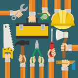 Builders Modern flat background with hand Stock Photos