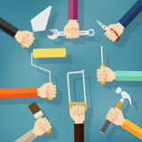 Builders Modern flat background with hand. Stock Photo