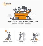 Builders, a new project, engineer, estimates. Stages. Builders, design, fasteners, jobbing, decoration. Stages of construction. lined icon icons. Advertising Stock Illustration