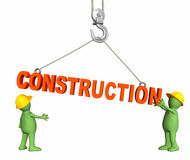 Builders, omitting a word construction on a hook Royalty Free Stock Image