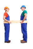 Builders with plank. Female and male builders wearing jumpsuits and helmets holding wooden plank - over white background royalty free stock photos