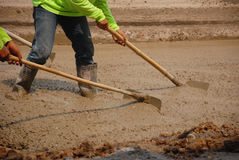Builders pouring cement. For build a road Royalty Free Stock Photo