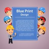 Builders Presenting Blue Print Poster Stock Images