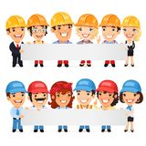 Builders Presenting Empty Horizontal Banner Stock Photos