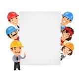 Builders Presenting Empty Vertical Banner Stock Images