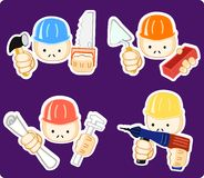 Builders with professional tool. Vector illustration of builders with professional tool Royalty Free Stock Photos