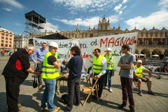 Builders protest against of embezzlement during the construction of the new district Stock Images