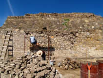 Builders restore the ancient pyramid. In Mexico Royalty Free Stock Images