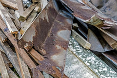 Builders Rubble Stacked and Ready for Collection and Removal Stock Photo