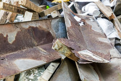 Builders Rubble Stacked and Ready for Collection and Removal Stock Photos