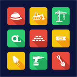 Builders Site Icons Flat Design Royalty Free Stock Image