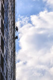 Builders of the tallest building in Kiev on high-altitude works Stock Image