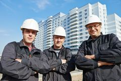 Builders team at construction site Royalty Free Stock Photo