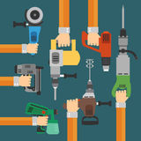 Builders Tools flat Modern background with hand Royalty Free Stock Photo