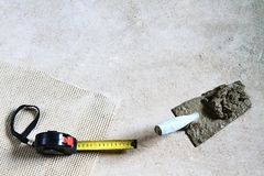 Builders tools on the floor stock photography