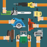 Builders Tools Modern flat background with hand Stock Photos