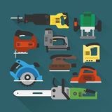 Builders tools modern flat background Stock Photography