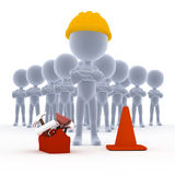 Builders, toon workers with tools Royalty Free Stock Photo