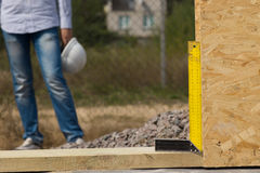 Builders try square or right angle Stock Photos